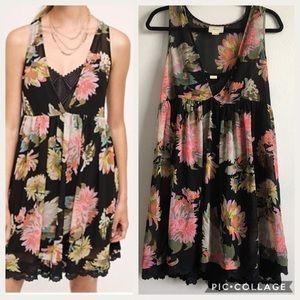 MAEVE Black Violetta Floral Babydoll Dress